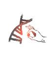 genetic engineering science concept sketch hand vector image