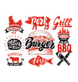 grilled bbq menu with meat and lettering for your vector image