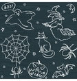 Hand drawn Halloween seamless pattern