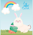 happy easter cute rabbit with carrot and egg vector image