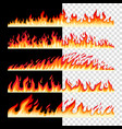 horizontal seamless fire borders vector image vector image