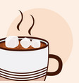 Hot coffee with sugar cubes cartoon close up vector image