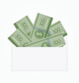 isolated opened white envelope with cash vector image vector image