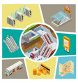 isometric subway elements composition vector image