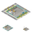 koper install piles at construction site isometric vector image vector image