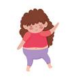 little cute girl curly hair cartoon isolated icon vector image vector image