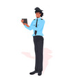 male police officer using tablet pc policeman vector image