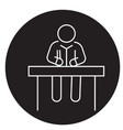 man sitting at office desk black concept vector image vector image