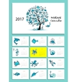 Marine tree Design calendar 2017 vector image