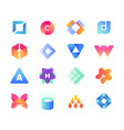 modern minimal geometric logo set eps 10 vector image
