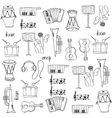 Music element doodles set on white backgrounds vector image vector image