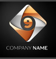 number nine logo symbol in the colorful rhombus on vector image vector image