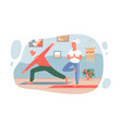 old people practice yoga sport exercises at home vector image
