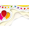 party balloons with decorations in cut out style vector image vector image