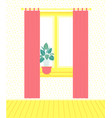 room inside window with curtains and flower pot vector image