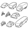 set of transportation and vehicle vector image