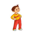 smiling little boy with brown hair stands with vector image vector image