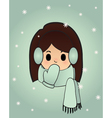 snowgirl on the blue background vector image vector image
