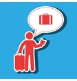 traveler silhouette suitcase map vector image
