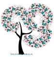 tree with florishes with butterflies vector image vector image