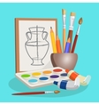 Unfinished picture of vase little bowl with vector image vector image