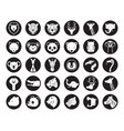wild animals head silhouette set vector image