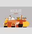wildlife day card of happy animal friends