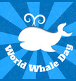 world oceans day card with whale silhouette and vector image vector image