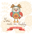 You make me happy romantic card with cute owl and vector image vector image