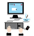 using your computer modern technology vector image