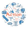 blue winter action sport concept vector image