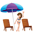 A pretty girl at the beach near the wooden chairs vector image vector image