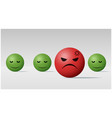 angry face ball among calm face balls background vector image vector image