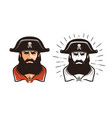 angry pirate portrait of bearded filibuster in vector image