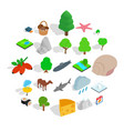 animal planet icons set isometric style vector image