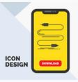 audio cable cord sound wire glyph icon in mobile vector image