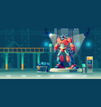 battle robot transformer in science laboratory vector image vector image