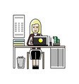 blonde secretary working at laptop in office vector image vector image