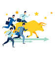 businessmen run race with bull vector image