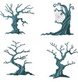 cartoon halloween trees collection set vector image vector image