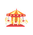 colorful carnival carousel with horses funfair or vector image vector image