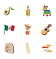 Country Mexico icons set cartoon style vector image vector image