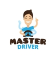 cute cartoon style mascot driver school vector image vector image