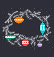 cute christmas wreath with decoration balls and vector image vector image