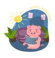 cute smart pig character reading a book while vector image vector image