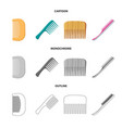design of brush and hair symbol set of vector image