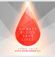 donate blood save lives concept blood drop vector image vector image