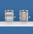 elevator with open and closed door in the vector image