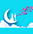 fall in love moon crescentwhite romantic lovers vector image