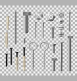 fastener fitting metallic bolts and nuts icons vector image